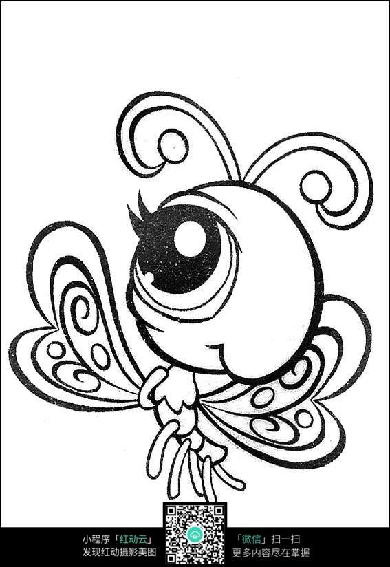 蝴蝶卡通手绘线稿