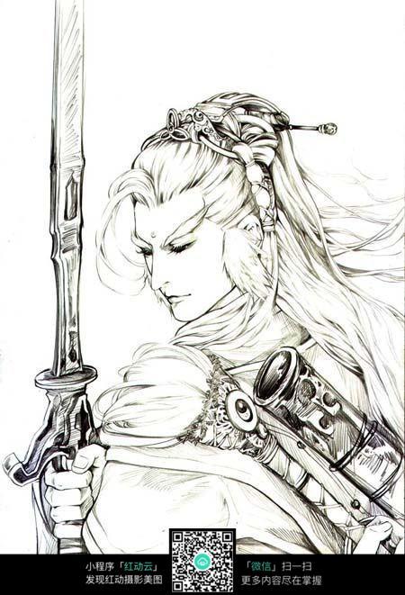 剑和男子卡通手绘线稿图片
