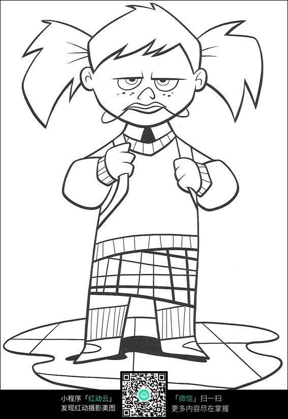 免费素材 图片素材 漫画插画 人物卡通 卡通悲伤的小孩手绘线稿图片