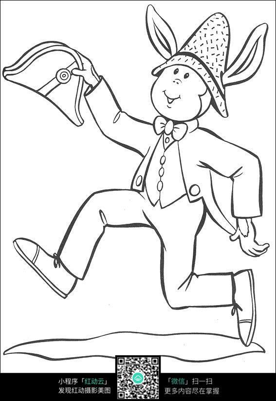 卡通奔跑的小孩黑白简笔画图片素材图片