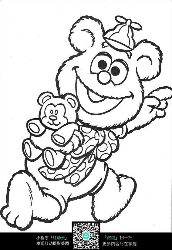 卡通奔跑的小熊手绘线稿图片