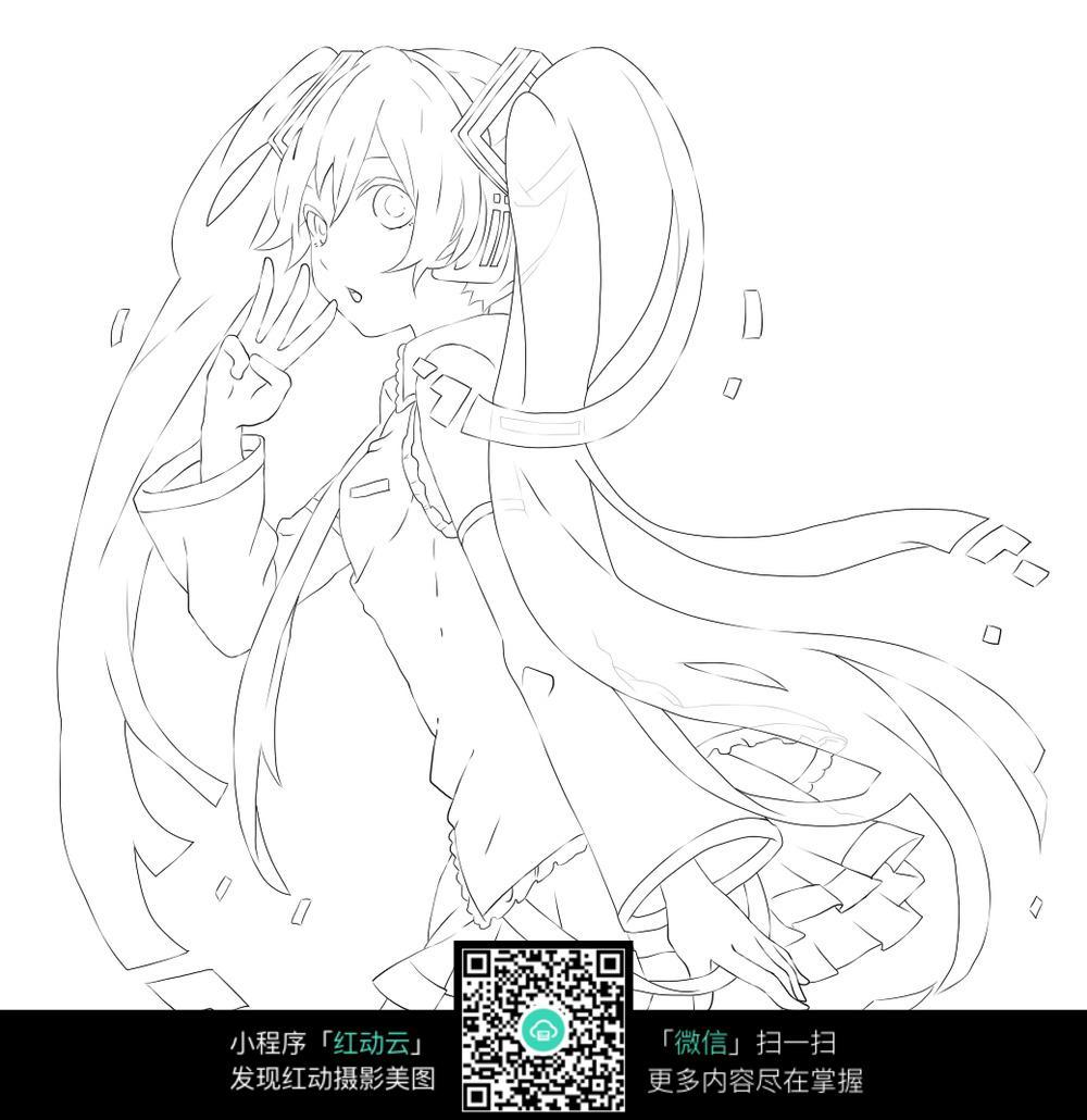 卡通长发穿裙子的美少女黑白简笔画图片素材