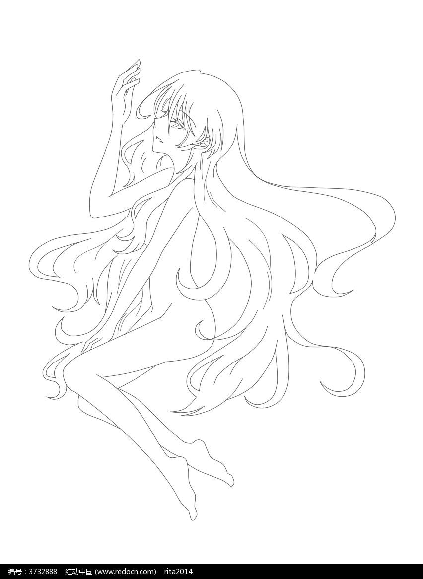 卡通长发裸体侧面美少女黑白简笔画图片素材
