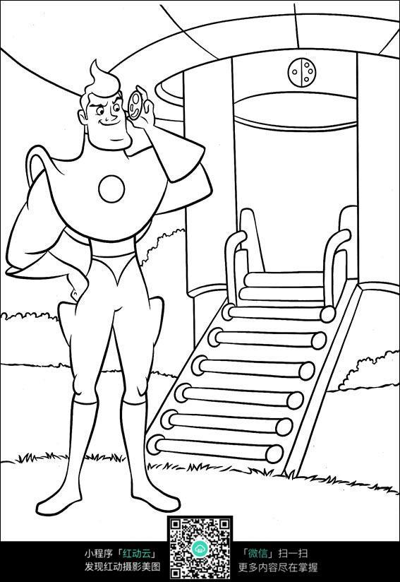 卡通超人手绘线稿图片