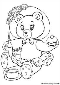 卡通吃东西的小熊黑白简笔画图片素材
