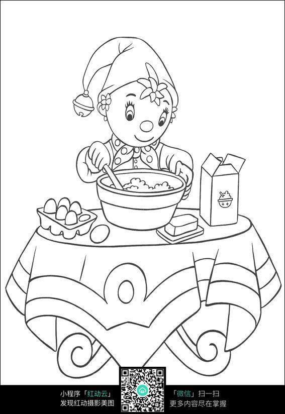 卡通吃饭的小孩黑白简笔画图片素材图片