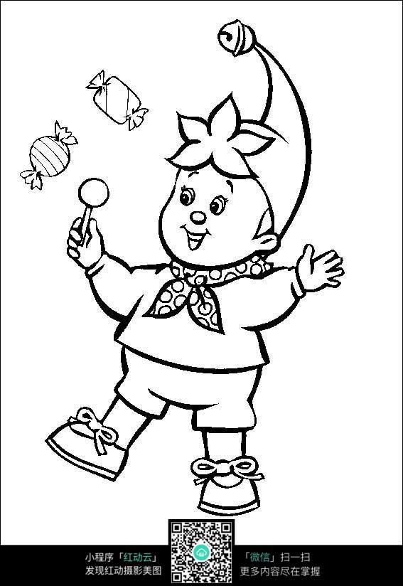 卡通吃糖的小孩手绘线稿图片