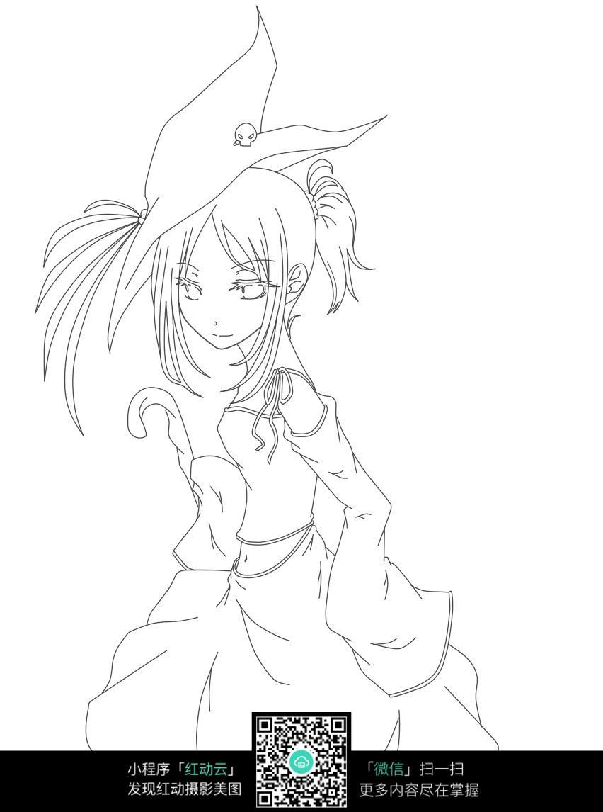 卡通穿短裙的美少女黑白简笔画图片素材