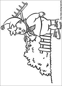 卡通出去干活的小孩黑白简笔画图片素材