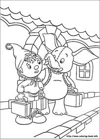 卡通出行的小孩大象简笔画图片素材