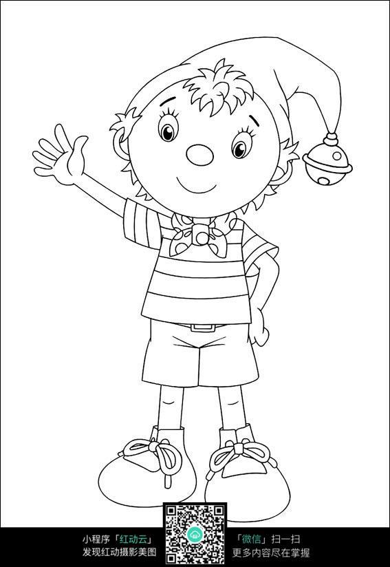 卡通带帽子打招呼的小孩手绘线稿图片