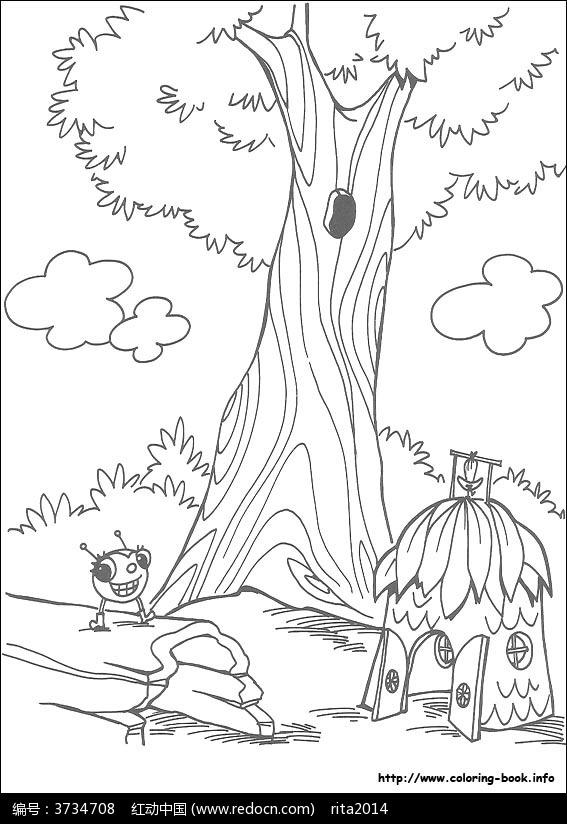 卡通大树小窝虫子手绘线稿图片