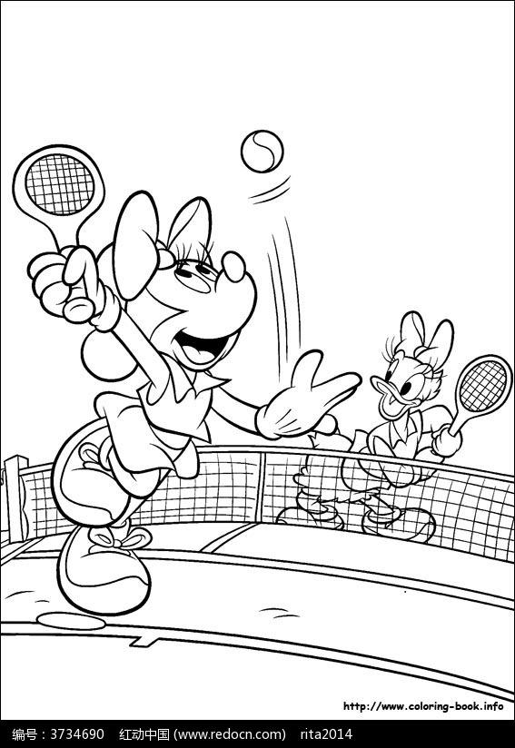 卡通打网球的米老鼠手绘线稿图片