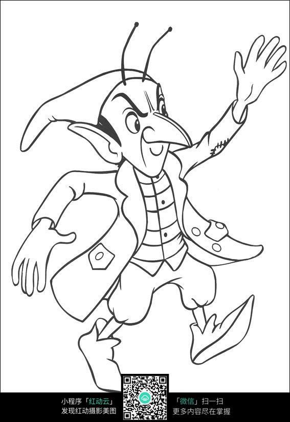 卡通打招呼的小人黑白简笔画图片素材
