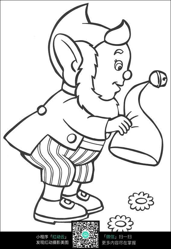 卡通抖帽子的老爷爷黑白简笔画图片素材