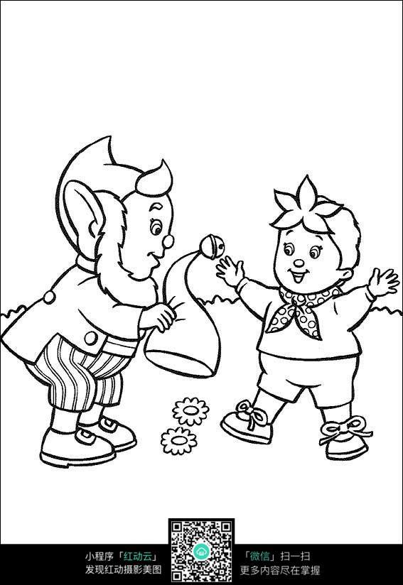 卡通抖帽子的老爷爷小孩黑白简笔画图片素材图片免费下载 编号