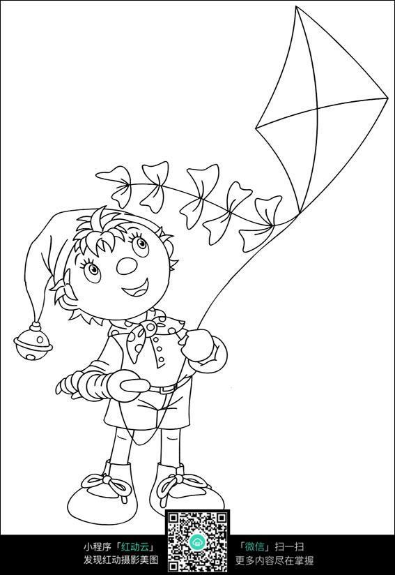 卡通放风筝的小孩手绘线稿图片免费下载 编号3733184 红动网图片