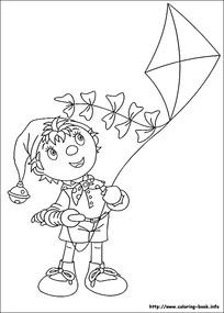 卡通放风筝的小孩手绘线稿图片