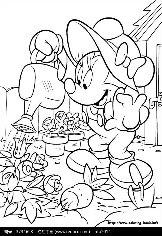 卡通给花浇水的米老鼠手绘线稿图片
