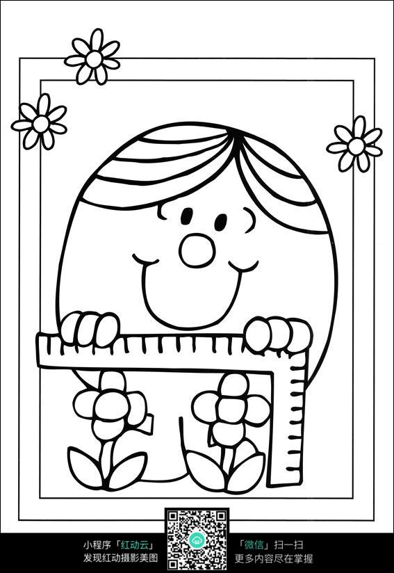卡通给花量高度的小孩手绘线稿图片