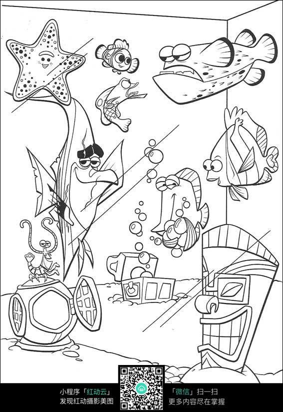 卡通海底世界手绘线稿图片