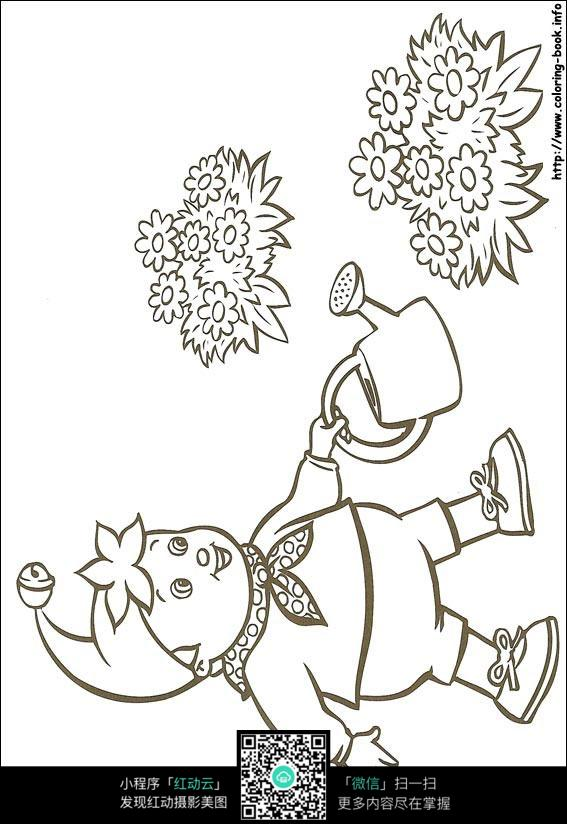 卡通浇花的小孩黑白简笔画图片素材图片免费下载 红动网