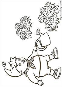 卡通浇花的小孩黑白简笔画图片素材