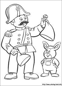 卡通军人叔叔小老鼠黑白简笔画图片素材