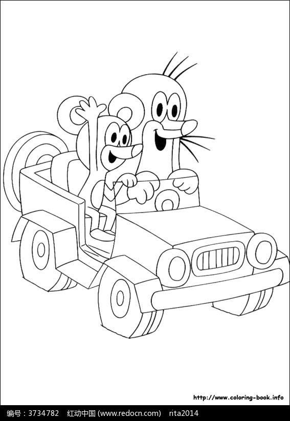 卡通开车的地鼠和米老鼠手绘线稿图片