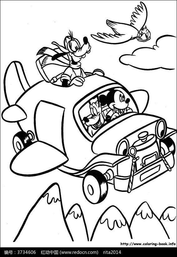 卡通开车的米老鼠小狗小鸟手绘线稿图片