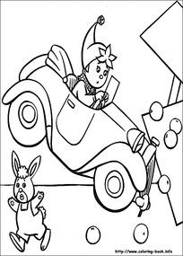 卡通开车撞东西的小花黑白简笔画图片素材
