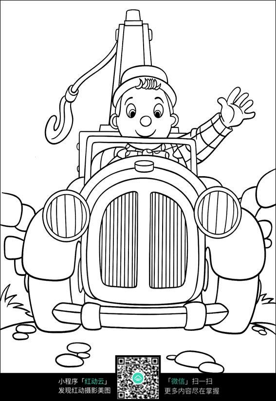 卡通奔跑的小孩黑白简笔画图片素材