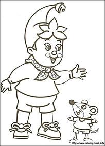 卡通开心的小孩小老鼠黑白简笔画图片素材