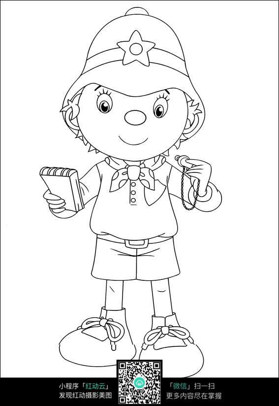 卡通看日记的小孩手绘线稿图片