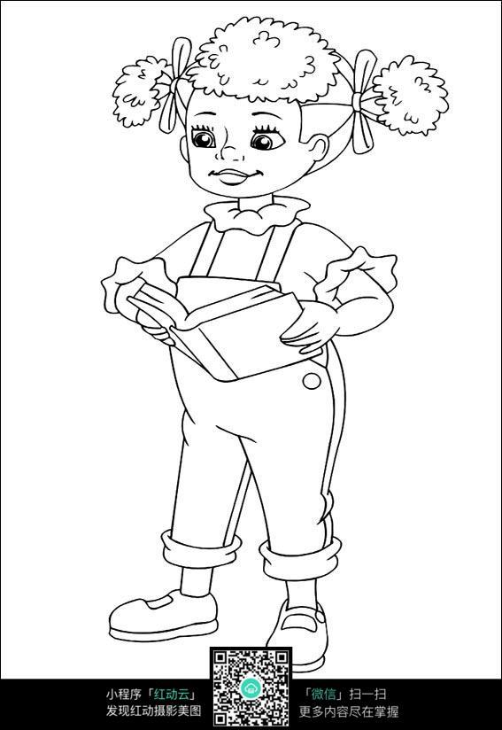 卡通看书的小女孩手绘线稿图片