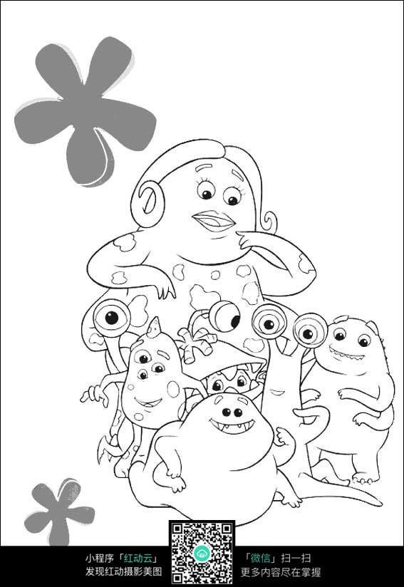 卡通可愛小動物手繪線稿圖