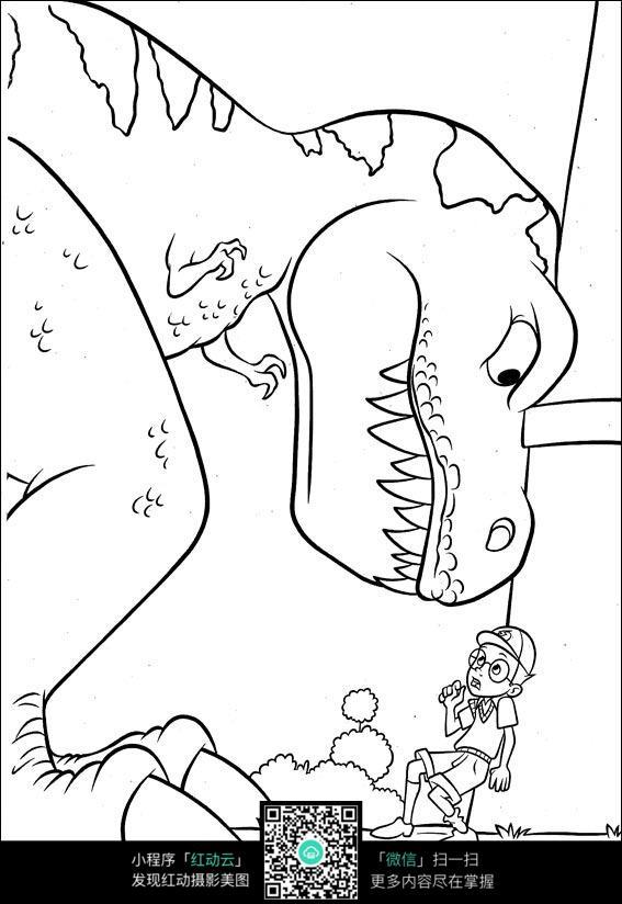 卡通恐龙和小男孩手绘线稿图片