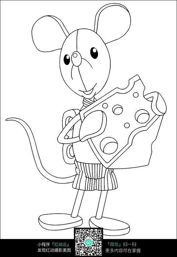 卡通老鼠蛋糕黑白简笔画图片素材