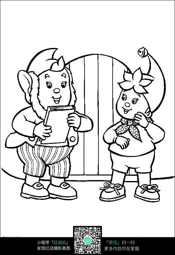 卡通老爷爷小孩黑白简笔画图片素材