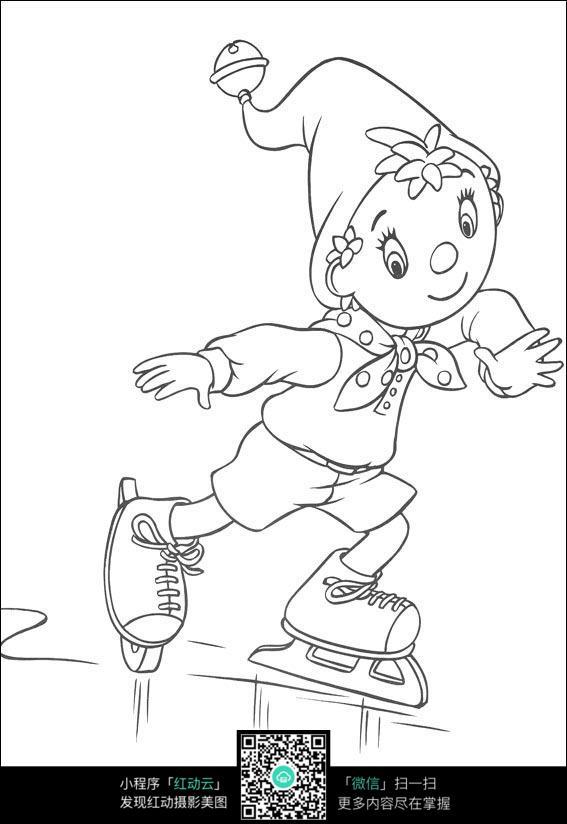 免费素材 图片素材 漫画插画 人物卡通 卡通溜冰的小孩黑白简笔画图片