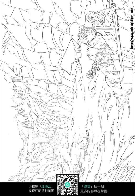 卡通落水的美女手绘线稿图片