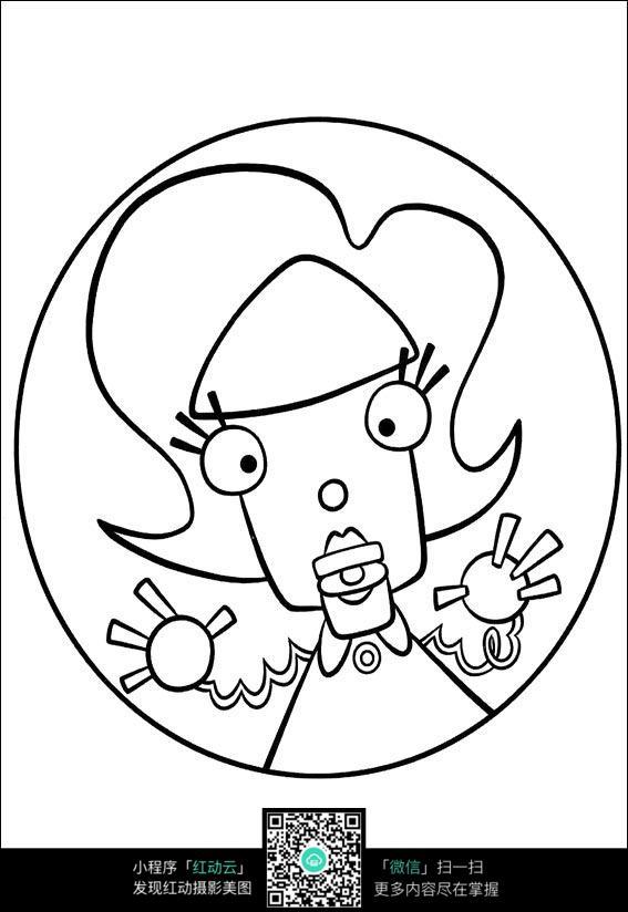 卡通妈妈手绘线稿图片