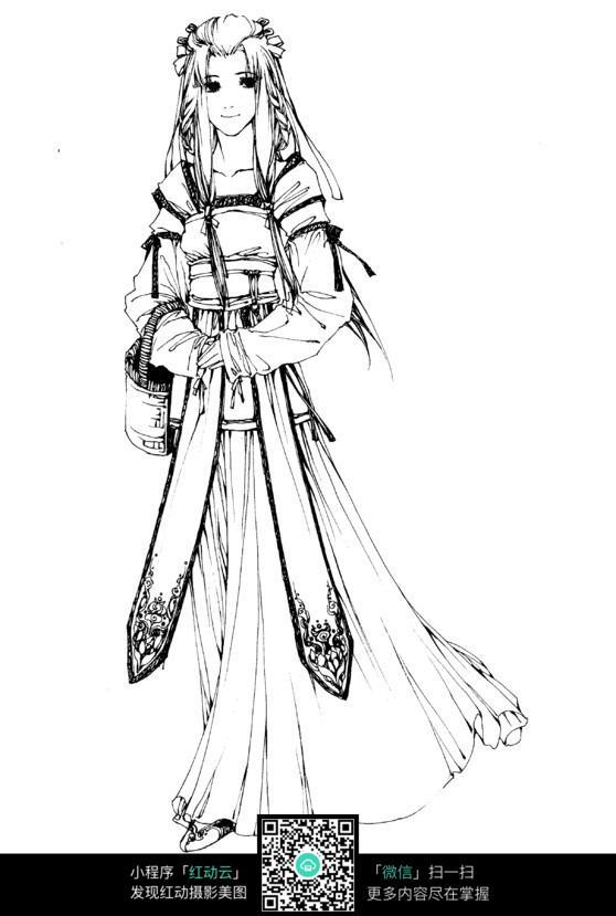 卡通美女手绘线稿图片免费下载(编号3710036)_红动网