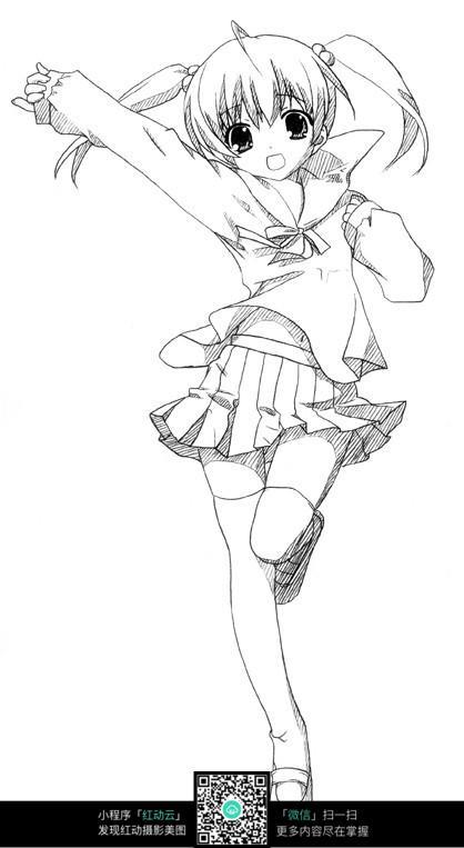 卡通美少女人物线描