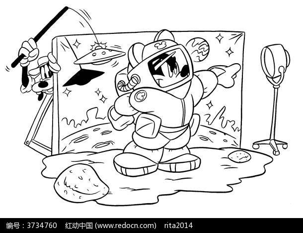 卡通米老鼠机器人手绘线稿图片