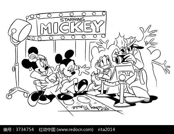 卡通米老鼠明星手绘线稿图片