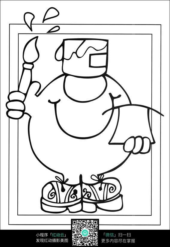 卡通拿毛笔写字的小人手绘线稿图片
