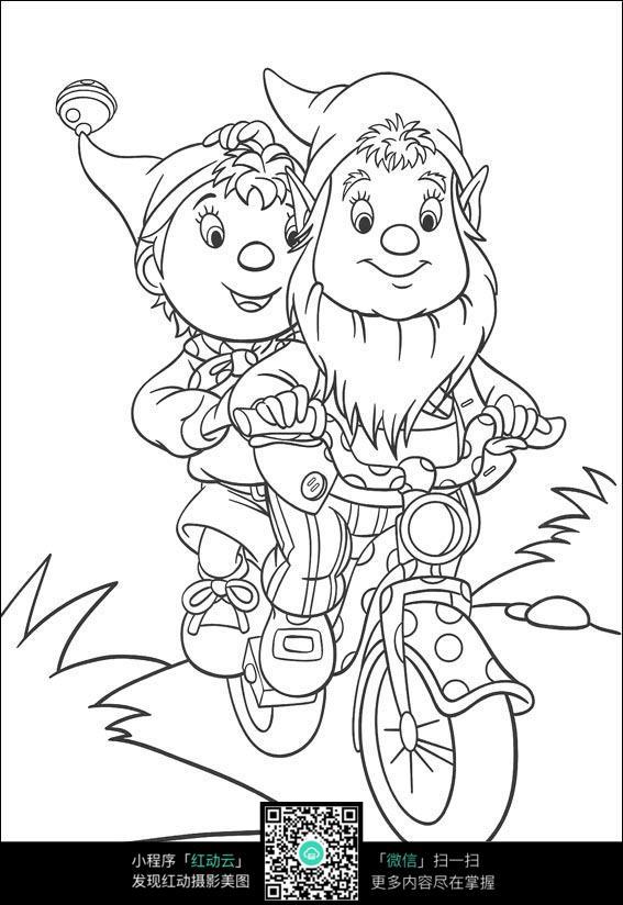 卡通骑车的老爷爷小孩手绘线稿图片