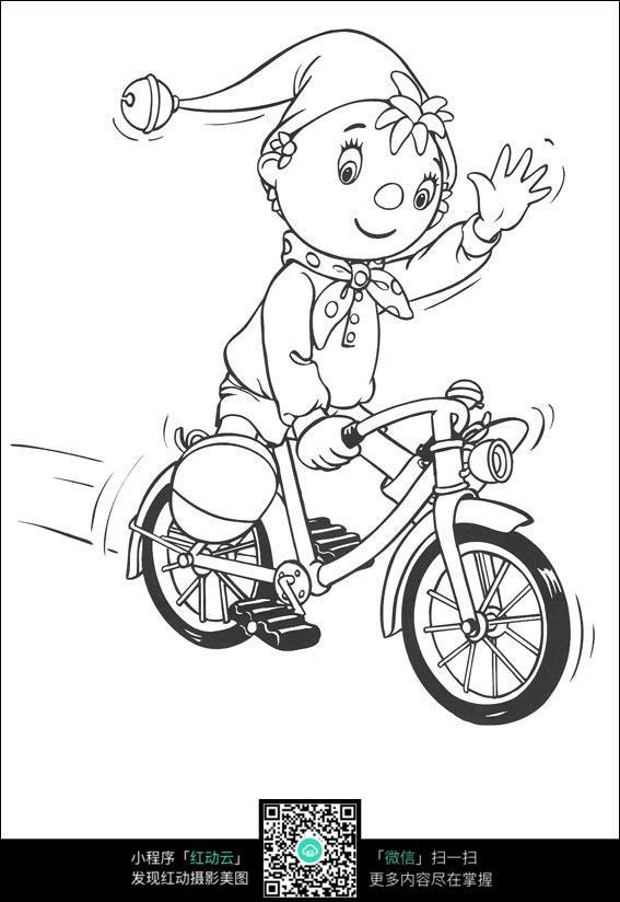 卡通骑车的小孩黑白简笔画图片素材
