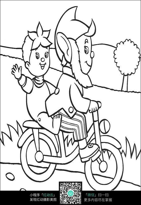 卡通骑车的爷爷和小孩黑白简笔画图片素材